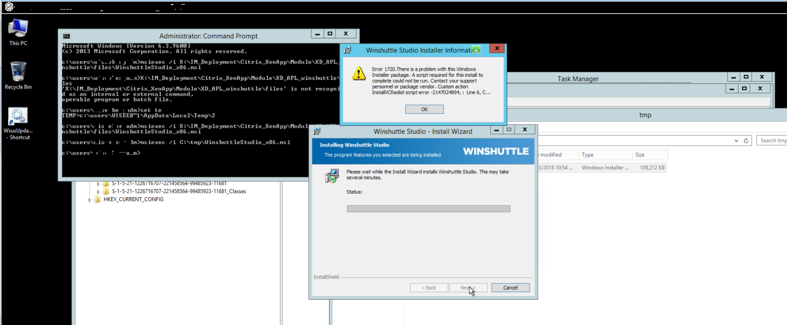 Error 1720  There is a problem with this Windows Installer