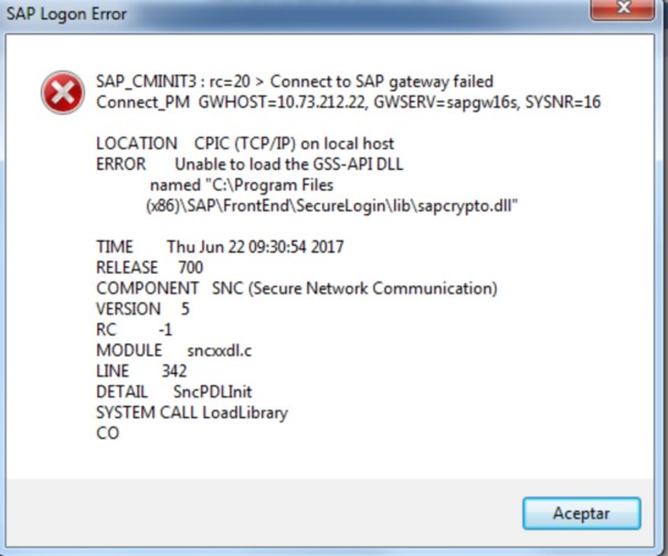 """Error - Unable to Load The GSS -API DLL names""""C:\Program Files(x86"""