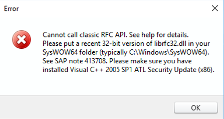 SAP logon error: Cannot call classic RFC API – Winshuttle