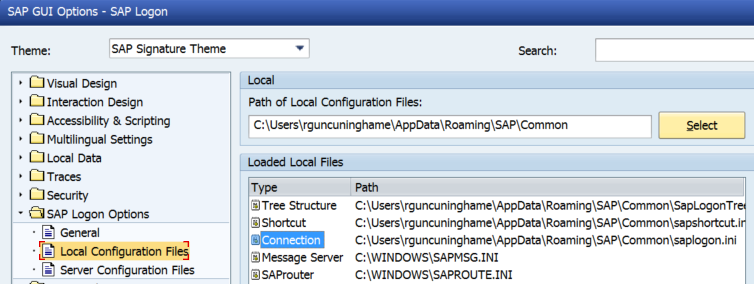 How to find the location of the saplogon ini file in SAP GUI