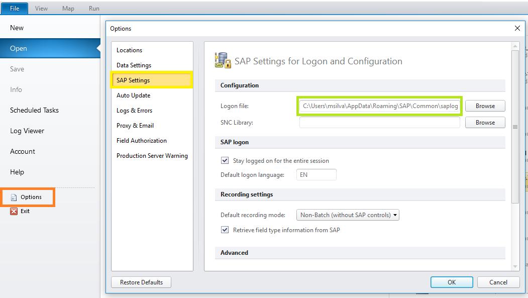 SAP Logon Pad Empty – Winshuttle