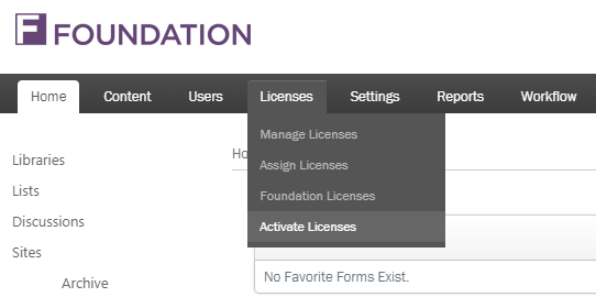 How do I activate my license in Foundation using my